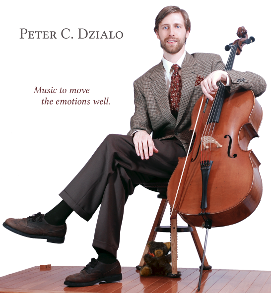 Peter Dzialo seated with cello and a teddy bear.